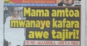 Stori kubwa magazetini leo Sept 16 2014 Udaku, Michezo na Hardnews