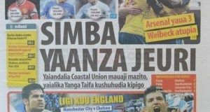 Kurasa za mwanzo na mwisho magazetini leo September 21 2014