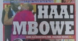 Kurasa za mwanzo na mwisho magazetini leo October 21 2014